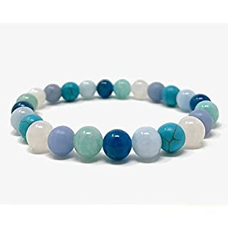 Calm & Tranquillity Crystal Power Bead Bracelet - Stretch Healing Crystal Gemstone Bracelet - SoulCafe Box and Information Tag - Amazonite, Apatite, Angelite, Moonstone, Aquamarine, Turquoise