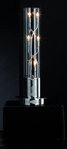 Onli–Tischleuchte/Nachttisch/Schreibtisch Camera Sofia. zylindrisch Zylinder Base Metall glänzend chrom. Moderne und Original. Durchmesser 16cm Höhe 41cm. Typ Elektrische 6flammig G4. Leuchtmittel enthalten.