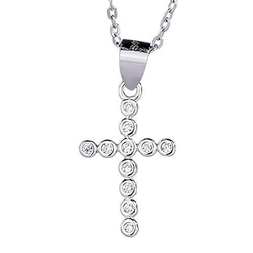 Damen S925 Sterling Silber Damen Anhänger Kreuz gerahmte Weißgold Halskette Anhänger -
