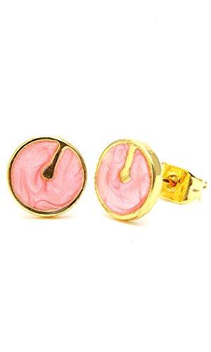 Chic-Net Brass Boucles d'oreille cercle trait 8mm Multicolore Or émail sans Nickel laiton Transparent