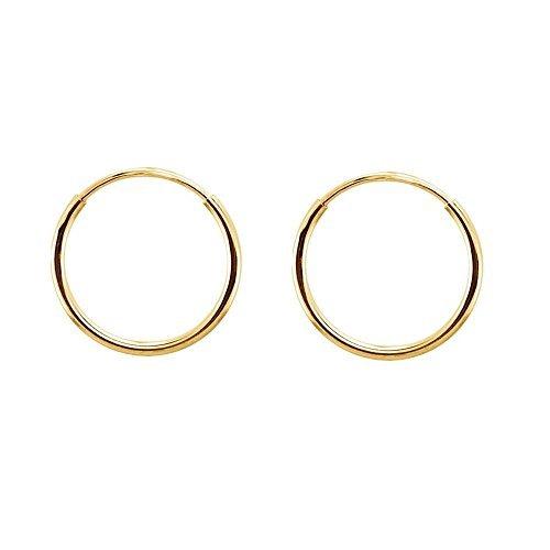ijewelry2kontinuierliche Endless rund Kreis 14K Gelb Gold Creolen Ohrringe 10mm