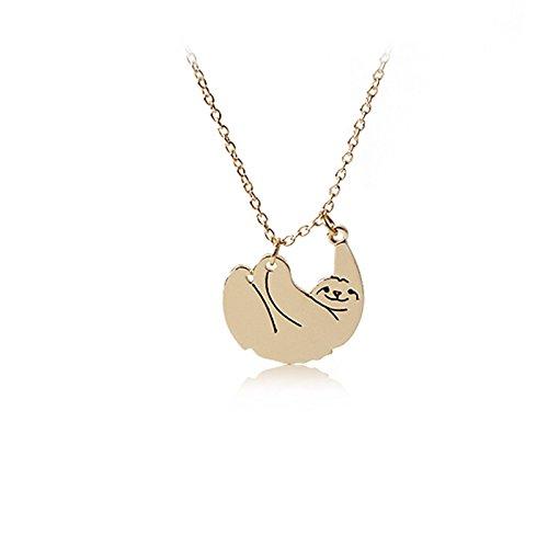 Einfach mal abhängen! Faultier Halskette für Damen und Mädchen. (Goldfarben)