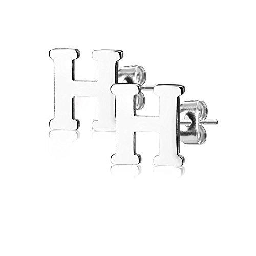 Bungsa BUCHSTABE H Ohrstecker Silber - BUCHSTABEN H Ohrring in Silber - Alphabet Ohrringe zum Stecken - aus Edelstahl - Ohrschmuck für Damen, Kinder & Herren -