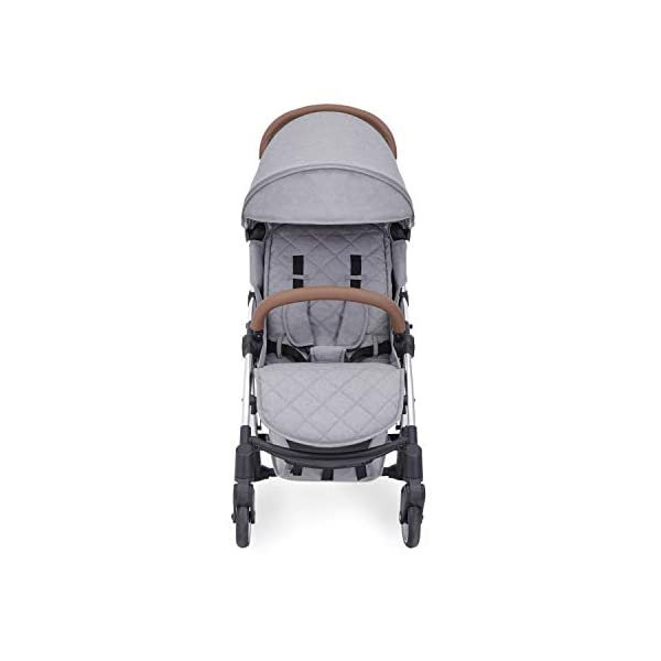 Ickle Bubba Globe Max Baby Stroller | Lightweight and Portable Stroller Pushchair | Folds Slim for Ultra Compact Storage | UPF 50+ Extendable Hood, Footmuff and Rain Cover | Grey/Silver Ickle Bubba ONE-HANDED 3 POSITION SEAT RECLINE: Baby stroller suitable from birth to 15kg-approx. 3 years old; features luxury soft quilted seat liner, footmuff, cupholder, and rain cover UPF 50+ RATED ADJUSTABLE HOOD: Includes a peekaboo window to keep an eye on the little one; extendable hood-UPF rated-to protect against the sun's harmful rays and inclement weather ULTRA COMPACT AND LIGHTWEIGHT: Easy to transport, aluminum frame is lightweight and portable-weighs only 6.4kg; folds compact for storage in small places-fits in aeroplane overhead; carry strap and leather shoulder pad included 2