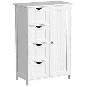 VASAGLE Sideboard Badezimmerschrank,  Badschrank aus Holz Beistellschrank Kommode mit 4 Schubladen, Schranktür, verstellbare Regalebene, Wohnzimmer, Küche, Flur, tief, freistehend, weiß LHC41W