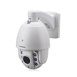 FLOUREON IP Kamera WLAN Dome Überwachungskamera PTZ Außenkamera, 1080P 5X Zoom, P2P, IR-Cut Nachtsicht, Wasserdicht, Email Alarm, unterstützt Micro SD Karte