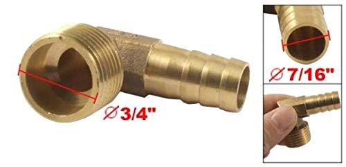 """ZXYAN Messing Winkelkupplungsverbinder 7/16\""""Schlauchtülle x 3/4\"""" Außengewinde"""