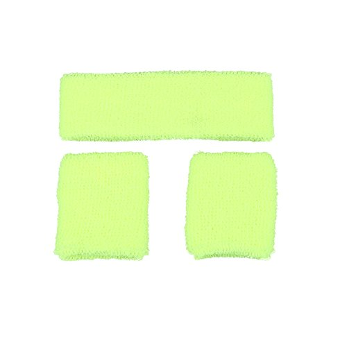 80's Sweatband And Wristbands NEON YELLOW for Fancy dress Accessory