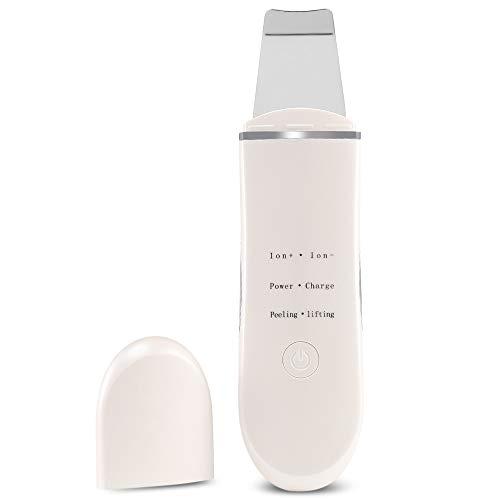 Skin Scrubber Scraper, Porenentfernung Keratin Remover Cleanser Peeling Facial Extractor Makel Peeling Schnurloses, wiederaufladbares Peeling mit 5 Kopfkomponenten-Weiß