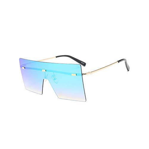 WJFDSGYG Übergroße Sonnenbrille Für Damen Quadratischer Spiegel Randlose Herrenbrille Flat Top Big Gradient Shades