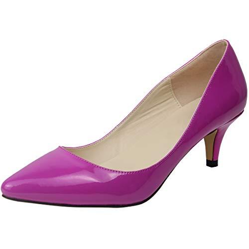 Wealsex Damen Pumps High Heels Lack Stilettos spitz Schuhe Elegante Brautschuhe(Violett,Etikett 42= EU 41)