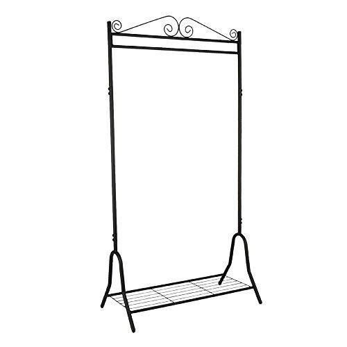 Garderobe Metall schwarz 46 x 90 x 172 cm | Stahlgestell | Schuhablage