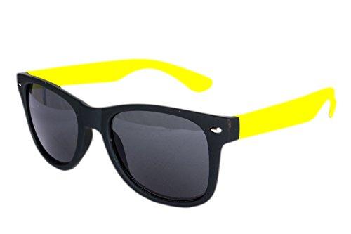 Nerdbrille Sonnenbrille Nerd Atzen Brille Pilotenbrille Schwarz Gelb Gummiert Matt