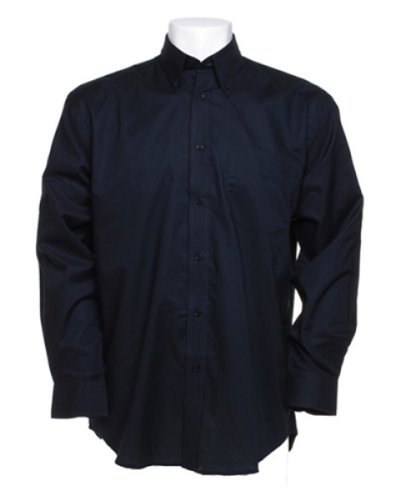 Kustom Kit Long Sleeve Oxford Shirt Blau - Marineblau