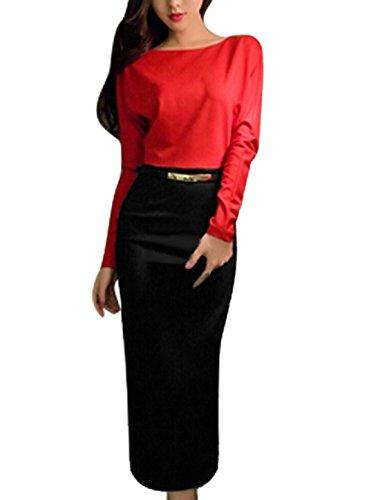 Pull Pour Femme Braguette Zip Arrière Bloc De Couleur Dos Fendu Robe Fourreau ceinture T Rouge