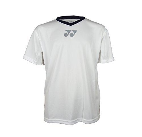 Yonex - YT1000EX Herren T-Shirt Verschiedene Farben Atmungsaktiv Komfortabel V-Ausschnitt Polyester YCSports - S, Weiß/Marineblau - Resistent S/s Shirt