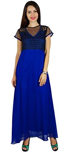 Bimba Frauen Schiere Maxi mit gesticktem Netz Joch Georgette Kleid Kappenhülse Kleid -