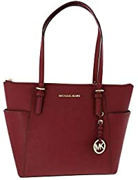 722bafee3571c8 Michael Kors Jet Set East West Top-Zip Leather Tote