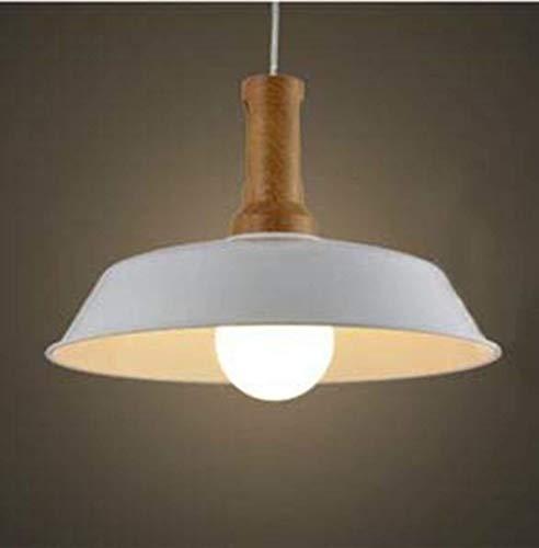 Weiße Akzent-lampe (BOSSLV Kleine Pendent Lampe Deckenleuchte Industriestil mit Holz Akzent Weiß für Restaurant Esszimmer Hall Cafe Loft Küche)
