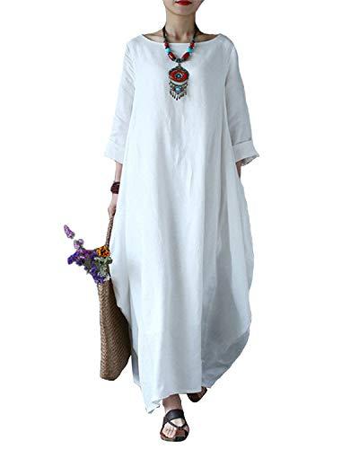 VONDA Damen Langarm Kleid Lange Größe Maxikleid Mittelalter Kaftan Kleider Weiß 2XL