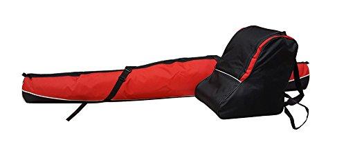 SKITASCHE Skisack 150 160 170 180 und 190 cm für Ski mit Stöcke mit/ohne Skischuhtasche reißfeste Skibag (180cm, ROT mit Schuhtasche)