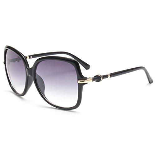 Vintage Retro Klassik Formatfüllend Klar Sonnenbrille Wayfarer Outdoor UV400,Black-OneSize
