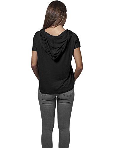 Ladies Short Viscose Hoody Urban Classics Streetwear Felpa Cappuccio Donna Nero