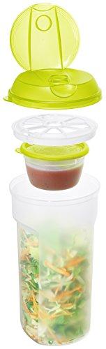 Rotho 1739805070 Müslibecher To Go mit getrenntem Behälter für Joghurt oder Dressing und Saucenshaker, 4-teilig, Inhalt 1 L, circa 11,5 x 11,5 x 21,5 cm, Plastik, transparent / grün