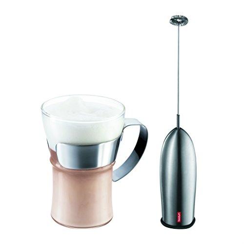 Bodum K4553-16-2Set Cappuccino, caffè vetro 0,35l e cappuccinatore con impugnatura in metallo lucido