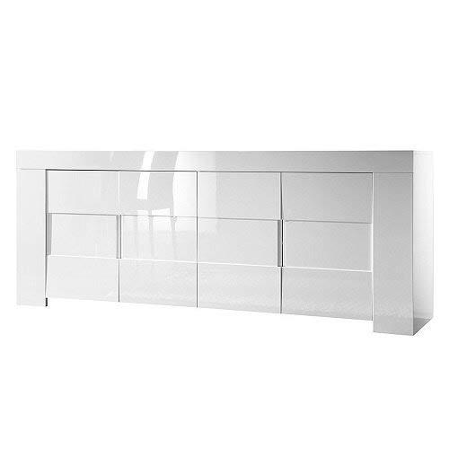 Sideboard Eos 4-türig, 210 x 84 x 50 cm, weiß hochglanz