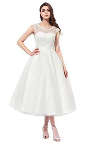 Tee-länge Brautkleid Spitze (AZNA Damen Vintage 1950er Stil Polka punktierte kleine Brautkleid Hochzeitskleid Tee Länge Elfenbein 50)