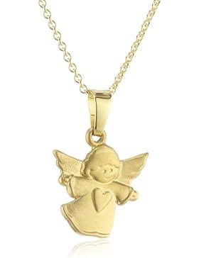 Xaana Kinder und Jugendliche Halskette Anhänger Engel mit Herz 8 Karat (333) Gelbgold mattiert + 925 Silber Kette...