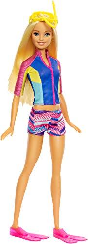 Barbie FBD63 - Magie der Delfine tierische Freunde, Taucher Puppe mit Farbwechsel, inkl. Zubehör und Delfin, Mädchen Spielzeug ab 3 Jahren
