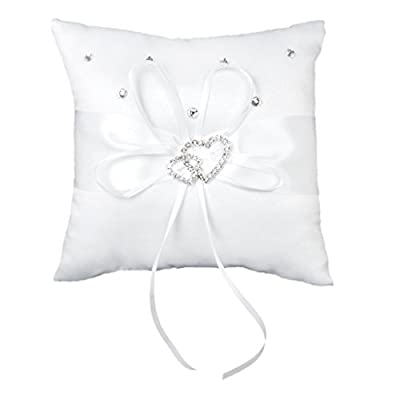 Hotportgift Double-Heart Rhinestone Wedding Ring Pillow Cushion Bearer produced by Hotportgift - quick delivery from UK.