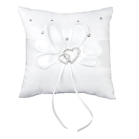 Double-Heart Rhinestone Wedding Ring Pillow Cushion Bearer 15 x