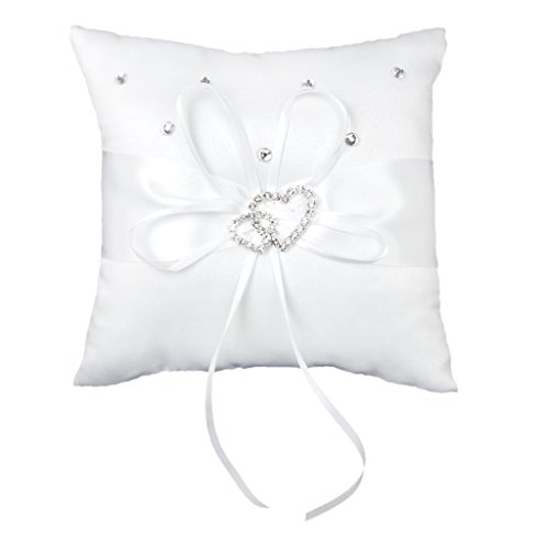 Double-Heart Rhinestone Wedding Ring Pillow Cushion Bearer 15 x 15cm---White