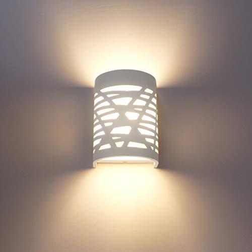 Aplique Pared Interior LED 7W Blanco Yeso Lámpara de Pared Blanco Cálido...