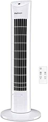 Pro Breeze Oscillating 30 Inch Tower Fan With Ultra Powerful 60W Motor Remote Control 7.5 Hour Timer And 3 Coo