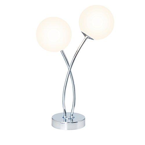 Glas Tisch Lampe (Brilliant Mirella Tischleuchte, 2-flammig, G9, 2x 3 W, 250lm, 2800K, Metall Glas, chrom/weiß G39642/75)