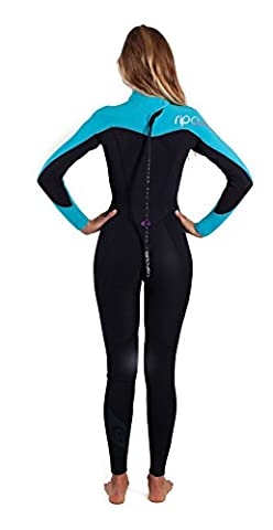 Rip Curl LADIES Omega 3/2mm Back Zip GBS Wetsuit WSM4LW Black/Turquoise Sizes- - Ladies 12