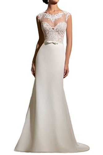 Milano Bride Elegant Elfenbein Spitze Figurbetont Hochzeitskleider Brautmode Lang Chiffon...