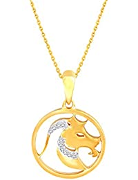 Silvernshine New D/VVS1 Diamond Aries Zodiac Pendant Necklace In 14K Yellow Gold Fn