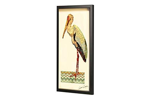 KunstLoft Trendiges Bild Frame Art 3D 'Storch Babyservice' 41x81cm | Handgefertigte Vintage Wanddeko aus Papier | Storch Weiß Abstrakt | Wandbild Collage Art Moderne Kunst Retro im Bilderrahmen