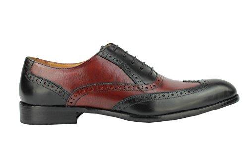 Xposed Herren Zwei Ton Schwarz Braun Echt Leder Oxford Brogue Gatsby Formale Schuhe, Dark Brown & Black - Größe: 11.5 UK 46 EU