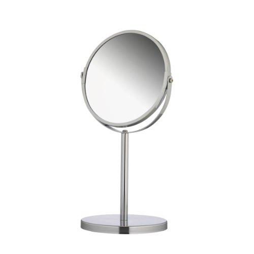 axentia Vergrößerungs-Tischspiegel in Silber, rostfreier Kosmetikspiegel verchromt, robuster Badezimmerspiegel mit 3- und 1-facher Vergrößerung, Rasierspiegel rund im Durchschnitt ca. 17 cm