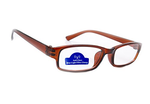 MFAZ Morefaz Ltd Slim Damen Herren Lesebrille +0.50 +0.75 +1.0 +1.5 +2.0 +2.5 Blue Light Filter Brille Blendschutz, Kratzfestes Objektiv Computer TV Anti Glare (2.00, Brown)