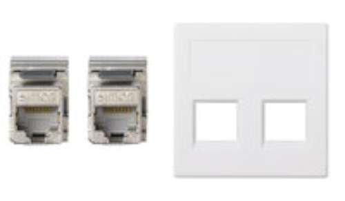 SIMON 50003189–030–Platte VD Wandhalter SG mit 2cat6F weiß