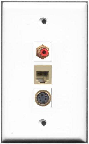 RiteAV-1RCA Red und 1Port RJ11, RJ12, beige und 1Port S-Video-Wanddose -