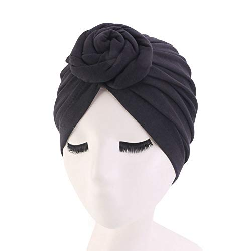 HIUGHJ 4 Farben Baumwolle Nacht Haar Hut f¨¹r nat¨¹rliches lockiges Haar Double Elastic Baden Schlaf Frauen Kopfbedeckung Wrap Hut, schwarz