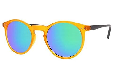 Cheapass Sonnenbrille Rund Verspiegelt Braun Transparent Nerd Retro Damen Herren